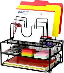 Desktop File Sorter Uk by Decobros Mesh Desk Organizer With Double Tray And 5 Stacking