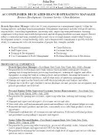 Sample Resume For Operations Manager Bank Branch Resumes Security