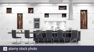Modern White Kitchen Interior 3d Rendering Stockfoto Und Luxury White Modern Kitchen Interior 3d Render Stock Photo