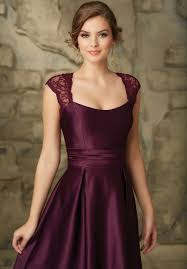 a line satin lace cap sleeves bridesmaid dress satin cap and