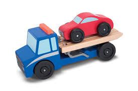 100 Truck Flatbed Melissa Doug Tow Wooden Vehicle Set