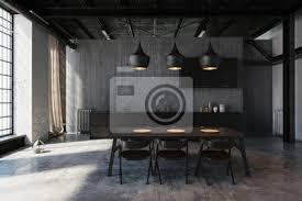 modernes esszimmer mit design küche im loft bilder myloview