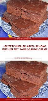 blitzschneller apfel schoko kuchen mit saure sahne creme