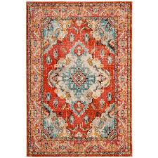 Floral Orange Area Rugs Rugs The Home Depot
