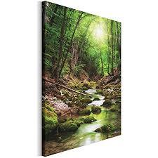 revolio 50x70 cm leinwandbild wandbilder wohnzimmer modern kunstdruck design wanddekoration deko bild auf leinwand bilder 1 teilig fluss bach bäume