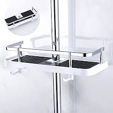 royaliya duschablage ohne bohren duschstange ablage für 24 25mm duschstange badezimmer duschregal verstellbar für shoo conditioner seife