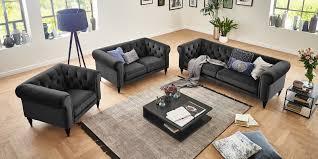 3 2 1 sofa chesterfield anthrazit samt hudson moebella24