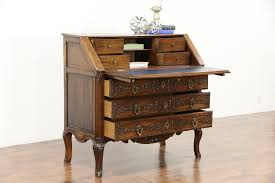 Drop Front Secretary Desk by Country French 1890 Antique Hand Carved Oak Secretary Desk