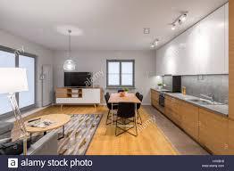 multifunktionale moderne loft wohnung mit küche essbereich