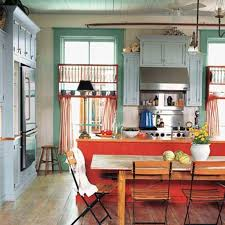 Colorful Kitchen Design Ideas With Simple Chairs And Table