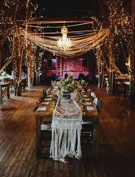 Barn Reception With Gorgeous Lighting And Lace Table Runner