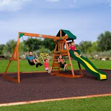 Patio Swing Sets Walmart by Backyard Discovery Prescott Cedar Wooden Swing Set Walmart Com