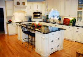 Kitchen Country Traditional Inspiration With Textured Wood Floor And White Modern Painted Island Also L Shape