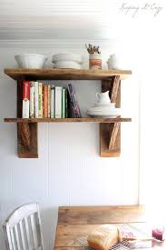 Rustic Style Wall Shelves From Reclaimed Wood In Dining Room With Oak Pallet Table And White Chair Decor Idea