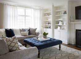 navy tufted ottoman transitional living room flax design for