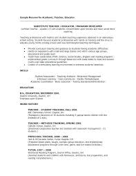 Sample Resume For English Teachers Teacher University Teaching In Format Or Resumes Substitute Example