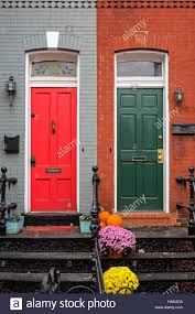 Washington DC Row houses with red and green front doors on