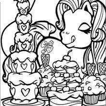 Pony Loves Cakes Coloring Page
