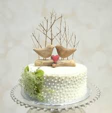 Winter Wedding Cake Topper With Love Birds Rustic Bird Wooden Anniversary Gift