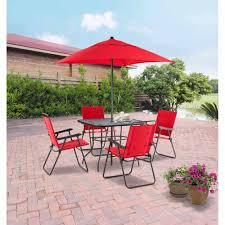 Dining Room Chair Cushions Walmart by Mainstays Searcy Lane 6 Piece Padded Folding Patio Dining Set Red