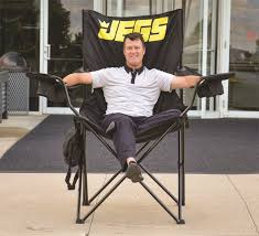 JEGS Folding Captain's Chair [Black With JEGS Logo]