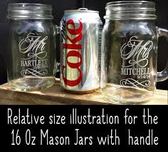 Mason Jars Drinking Mugs With Handle Engraved Custom Etched Name And Date For Wedding Engagement Anniversary Bridal Party Gift Or A Favor Idea