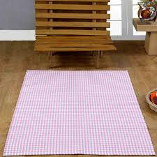 Check Carpet by Homescapes 100 Cotton Gingham Check Runner Hand Woven Pink White