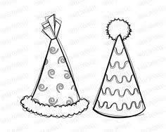 Vintage Clip Art Party Hats Birthday Celebrations Cute Kids Drawing Sketches Kid Birthdays Digital Stamps esie Colouring