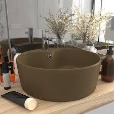 luxus waschbecken mit überlauf matt creme 36x13 cm keramik