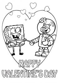 Spongebob And Sandy Valentine Coloring Pages