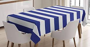 Ambesonne Striped Tablecloth Nautical Marine Style Navy Blue And White Sailor Theme Geometric Pattern Art