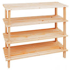 Dazzling Shoe Rack Design Inspiration Come With 4 Tier Together Blonde Wood Material