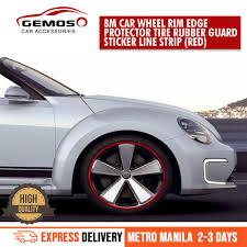 Car Wheel Rim Edge Protector Tire Rubber Guard Sticker Line Strip 8M(Red)