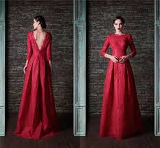 Discount Ssj 2015 Wedding Dresses Red Long Sleeves A Line Jewel Vintage Lace Floor Length Sequined Bridal Gowns Babybride D2671 Dress Strapless