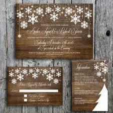 Winter Wedding Invitation Set With Snowflakes On Wood
