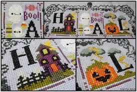 The Frosted Pumpkin Stitchery Facebook by Level 1 Homemaker Halloween Spooky Sampler Week One