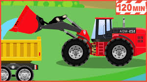 100 Trucks For Children The Red Bulldozer Cars And Compilation For Kids Bulldozer