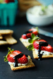 healthy canapes recipes easy strawberry goat cheese bites with balsamic reduction easy