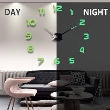 diy wanduhren 3d spiegel uhr große acryl aufkleber wohnzimmer dekoration selbstklebender hängende uhr mit leucht