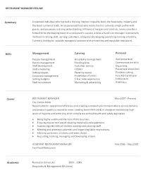 Sample Resume Restaurant Manager Management Resumes Event