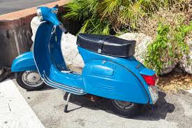 Download Classic Blue Vespa Sprint 150 Scooter Stands Parked Editorial Stock Photo