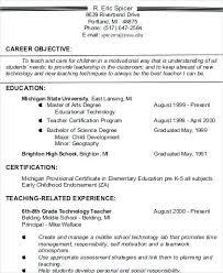 Objectives For Resumes Teachers Objective Resume Teacher Samples Ideas