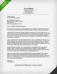 Example Of Operations Manager Cover Letter