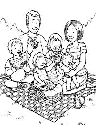 Family Holiday Picnic Coloring Pages