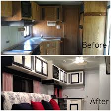 Travel Trailer Remodel Removed All Dated Furniture Repaired Walls Painted Ceiling Cupboards Doors Etc New Hardware Reupholst