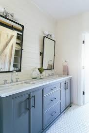 gray blue bathroom dual washstand with bronze industrial