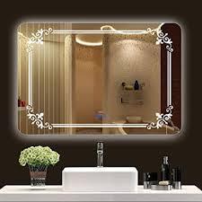 bad rechteckig abgerundeten spiegel wand anti fog touch