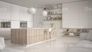 moderne weiß und holz küche mit regalen und schränken insel mit hocker moderne wohnzimmer minimalistische architektur innenarchitektur stockfoto und