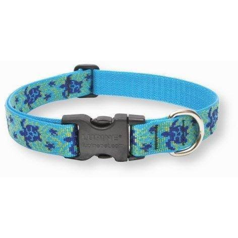 "LupinePet Originals Adjustable Collar for Medium and Larger Dogs - Turtle Reef, 1"" x 12-20"""