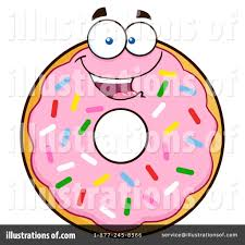 Royalty Free RF Pink Sprinkle Donut Clipart Illustration by Hit Toon